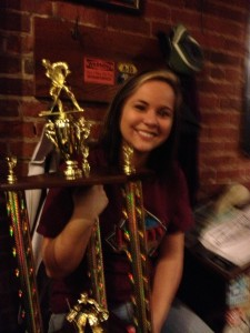 Ashley's employee enjoys the trophy!