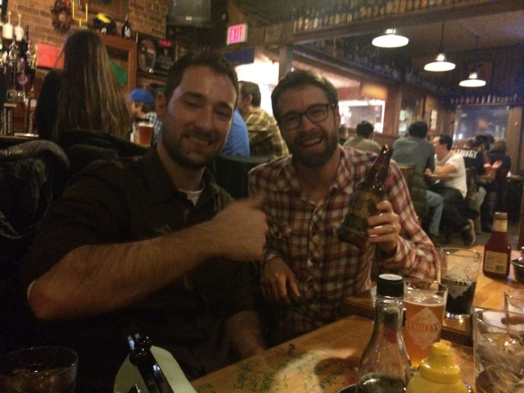 Peter and Matt celebrate Hopslam and Ruination championships at Ashley's!